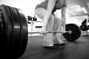 Woman performing a deadlift